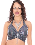 Elegant Metallic Belly Dance Fusion Halter Top with Jewel & Fringe - BLACK AB