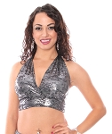 Metallic Belly Dance Costume Halter Top - LIQUID METAL