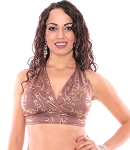 Metallic Belly Dance Costume Halter Top - MOCHA / GOLD