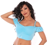 Off-the-Shoulder Comfy Dance Costume Choli Top - JASMINE TURQUOISE
