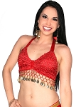 Velvet Belly Dance Costume Top with Beads and Coins - RED / GOLD