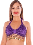 Velvet Belly Dance Costume Top with Beads and Coins - PURPLE / GOLD