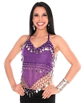 Sheer Chiffon Belly Dance Halter Top with Coins - PURPLE GRAPE / SILVER