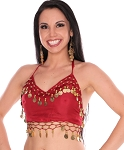 Chiffon Belly Dance Costume Top with Coins - ROSE RED / GOLD