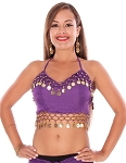 Chiffon Belly Dance Costume Top with Coins - PURPLE GRAPE / GOLD