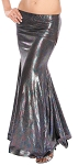 Metallic Belly Dance Costume Mermaid Trumpet Skirt - BLACK AB