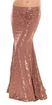 Metallic Belly Dance Costume Mermaid Trumpet Skirt - MOCHA / GOLD