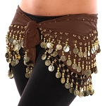 Chiffon Belly Dance Hip Scarf with Beads & Coins - BROWN / GOLD