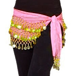 Chiffon Belly Dance Hip Scarf with Beads & Coins- LIGHT PINK / GOLD