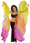 Silk Fan Veils Dance Prop (Set of 2) - YELLOW / ORANGE / FUCHSIA