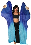 Silk Fan Veils Dance Prop (Set of 2) - BLUE / TURQUOISE