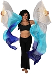 Silk Fan Veils Dance Prop (Set of 2) - WHITE / TURQUOISE / BLUE