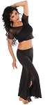 2-Piece Ruffle Slit Pants Yoga Dance Outfit - BLACK