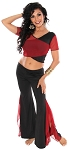 2-Piece Ruffle Slit Pants Yoga Dance Outfit - BLACK / BURGUNDY