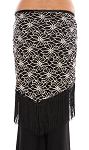 2-Tone Lace Shawl Hip Scarf with Fringe - BLACK