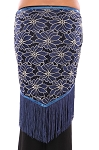 2-Tone Lace Shawl Hip Scarf with Fringe - BLUE