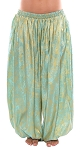 Brocade Full Pantaloons Tribal Harem Pants - GOLD / AQUA TURQUOISE