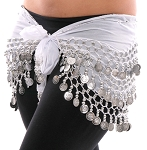 Chiffon Belly Dance Hip Scarf with Beads & Coins - WHITE / SILVER