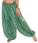 Brocade Full Pantaloons Tribal Harem Pants - GREEN / BLUE