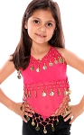Little Girl's Chiffon Belly Dance Costume Halter Top with Coins - ROSE PINK / GOLD