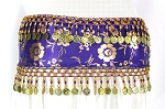 CAIRO COLLECTION: Metallic Print Belly Dance Hip Scarf / Sash with Beads & Coins - ROYAL PURPLE / GOLD
