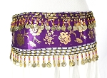 CAIRO COLLECTION: Floral Metallic Print Hip Belt / Sash - PURPLE PLUM / GOLD
