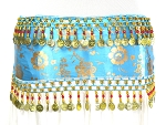 CAIRO COLLECTION: Metallic Print Belly Dance Hip Scarf / Sash with Beads & Coins - TURQUOISE / GOLD
