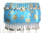 CAIRO COLLECTION: Metallic Print Belly Dance Hip Scarf / Sash with Beads & Coins - TURQUOISE / SILVER