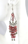 Sequin Chandelier Earrings with Bells - RED / SILVER
