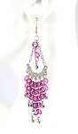 Sequin Chandelier Earrings with Bells - FUCHSIA / SILVER