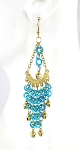 Sequin Chandelier Earrings with Bells - TURQUOISE / GOLD