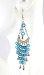 Sequin Chandelier Earrings with Bells - TURQUOISE / SILVER