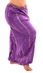 Cotton Tribal Harem Pants with Lurex Stripes - PURPLE