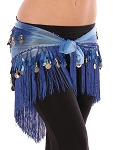 Chiffon Tie-Dye Triangle Hip Scarf with Teardrop Paillettes, Fringe, & Coins - BLUE