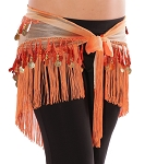 Chiffon Tie-Dye Triangle Hip Scarf with Teardrop Paillettes, Fringe, & Coins - AUTUMN ORANGE
