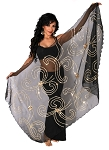 Petite Belly Dance Veil with Floral Sequin Design - BLACK / GOLD