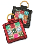 Soft Velvet Dance Bag Tote with Sari Design and Bamboo Handles