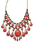 Deluxe Afghani Kuchi Tribal Belly Dance Teardrop Necklace - RED CORAL