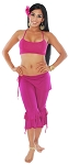 Magenta Fusion Belly Dance Outfit with Ruffle Capri Pants