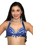 LIMITED EDITION Hand-Made Vintage Style Belly Dance Costume Bra - BLUE / SILVER