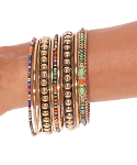 High-Quality Set of 9 Metal Gold Bangles with Multi-Colored Glass Beads
