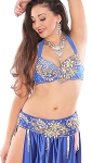 Rhinestone Belly Dance Costume Bra and Belt Set with Beaded Design - ROYAL BLUE