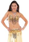 Sequin and Beaded Belly Dance Costume Bra and Belt Set with Rhinestones - GOLD