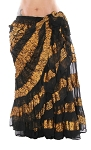 25 Yard Tribal Skirt with Gold Lurex Stripes - BLACK