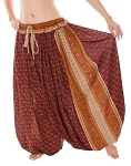 4.5 Yard Full Pantaloon Harem Pants with Paisley Pattern - BURGUNDY / SIENNA