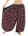 4.5 Yard Full Pantaloon Harem Pants with Floral Pattern - DARK PURPLE / BLACK