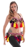 Colorful Shisha Tribal Bra & Belt Set with Shells & Tassels - BLACK / MULTI