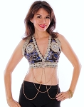 Tribal Fusion Embroidered Halter Top with Coins & Chains - BLACK / BLUE / IVORY