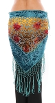 Burnout Velvet Floral Shawl Scarf with Fringe - BLUE MULTI
