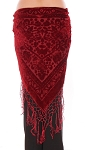 Floral Pattern Burnout Velvet Shawl Hip Scarf with Fringe - BURGUNDY